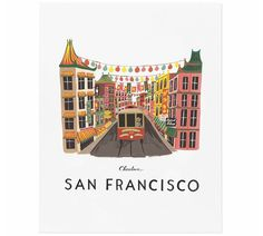 Rifle Paper Co San Francisco illustrated print, on natural white woven paper. Ships in a flat protective sleeve. Illustrated art print created from an original Gouache painting by Anna Bond. Designed in the USA by Rifle Paper Co. Anna Bond, Tattoo Studio, San Francisco Art, Rifle Paper Co, Gouache Painting, Diy Painting, City Art, Travel Posters, Grand Canyon