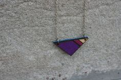 REVERSIBLE Geometric Leather-Backed Purple Glitter Painted Wooden Triangle Pendant Statement Necklace - Magenta Purple and Cobalt Bule Suede Wooden Jewelry from The Glim on Etsy