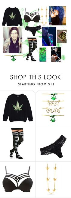 """""""Stoner couple"""" by charezanne on Polyvore featuring Ana Accessories, Chantelle, Charlotte Russe, King Ice, GREEN, weed, stoner and stonercouple"""