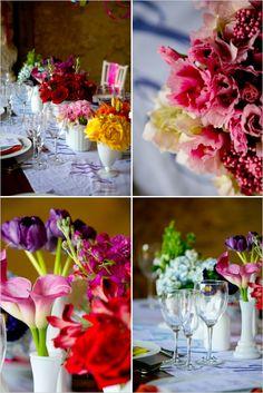 rainbow floral arrangements  #rainbowwedding #weddingchicks http://www.weddingchicks.com/2013/12/26/a-rainbow-wedding/