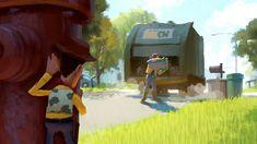 Dice Tsutsumi - Toy Story 3 Pixar Concept Art, Disney Concept Art, Disney Art, Cartoon Background, Animation Background, Art Background, Environment Concept Art, Environment Design, Storyboard