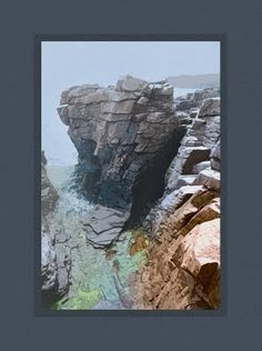 digital landscape painting of thunderhole in Bar Harbor. Digital Plein air and arts and crafts inspired.