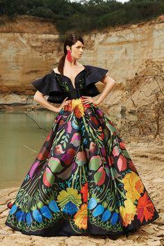 MNM Couture - 2352 Colorful Fiesta Printed Ruffled Ballgown in Multi-color Floral Fashion, Colorful Fashion, Fashion Dresses, Fashion Design, Quinceanera Dresses, Prom Dresses, Vestido Charro, Mexican Fashion, Mexican Dresses