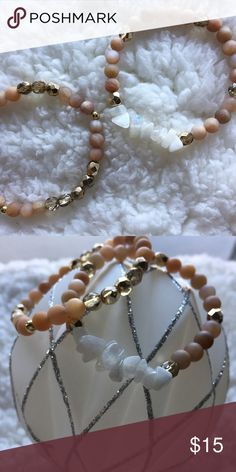✨NEW✨ Moonstone Crystal Bracelets Natural moonstone bracelets ✨choose your style at checkout✨ ➵ 1 (LEFT) features unpolished matte moonstone & pale gold Czech crystals  ➵  2 (RIGHT) features unpolished matte moonstone, pale gold Czech crystals, & white rainbow moonstone chips Simple Sanctuary Jewelry Bracelets
