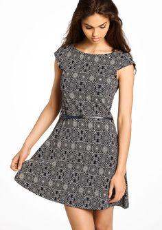 Geprinte jurk met korte mouwen,