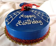 Spiderman Birthday Cake Idea-like the white on blue of this cake