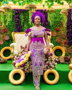 💜💜💜 _ Bride George fabrics Outfit Designed by Mua Accessories… Nigerian Wedding Dresses Traditional, Traditional Wedding Attire, African Traditional Dresses, Best African Dresses, African Lace Styles, African Fashion Dresses, Fashion Skirts, African Wear, African Wedding Theme