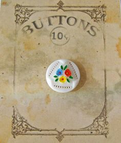 Porcelain Hand Painted Button by cynthiasattic on Etsy, $7.50