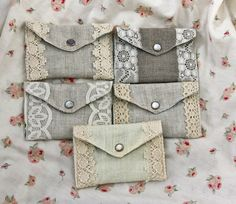 Linen card holders,    wishing I could sew