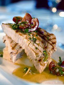 Grilled Swordfish with Olives  Burnt Butter Sauce