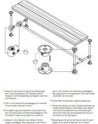 Bouwtekening met beschrijving om een tafel van steigerbuizen te maken.