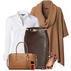 Brown Poncho Pencil Skirt Leopard Pumps Work Outfit – Outfits Pedia – Daily Posts for Women Classy Outfits, Chic Outfits, Fall Outfits, Fashion Outfits, Womens Fashion, Petite Fashion, Skirt Fashion, Mode Outfits, Skirt Outfits