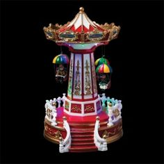 Carrousel de Noël lumineux Chaises volantes