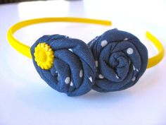 Blue and Yellow Twisted Rosette Headband