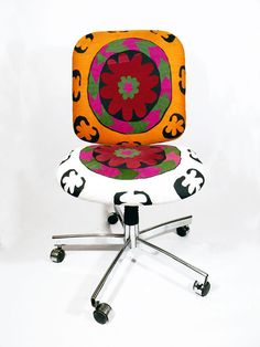 1960's Vivid Gold White Multi Whorl office chair from etsy.com