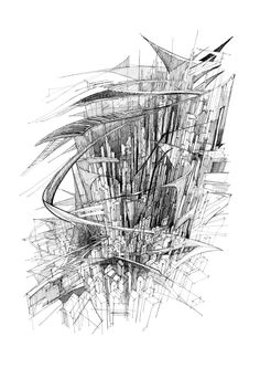 Excelsior - Architectural study of the city. Black ink drawing.