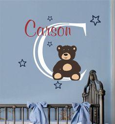 Baby Boy Name Wall Decal Teddy Bear Nursery Decor by AllOnTheWall, $29.00