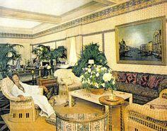 Marella Agnelli at home in Turin. Room designed by Lorenzo Mongiardino, using fabric of Mrs.