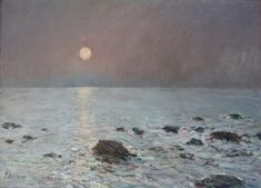 """Moonrise, Isles of Shoals,"" Childe Hassam, 1899, oil on canvas, 16 x 22"", collection of Dr. W. Donald Head."
