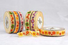 Πασχαλινά :: Πασχαλινές Κορδέλες :: Πασχαλινή κορδέλα βαμβακερή τύπωμα μαργαρίτα 15mm x 18m - Προιόντα