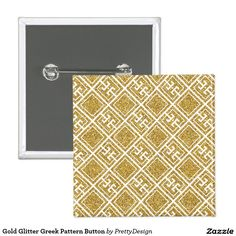 Gold Glitter Greek Pattern Button