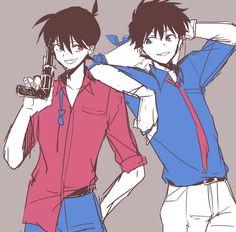 Detective Conan ❤ Shinichi and Kaito kid Dc Anime, Anime Kawaii, Magic Kaito, Detective Conan Shinichi, Kaito Kuroba, Detective Conan Wallpapers, Gosho Aoyama, Amuro Tooru, Kaito Kid