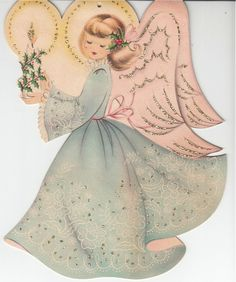 "Vintage ANGEL Greeting Card NORCROSS Unused Lace Glitter 9.5"" tall 1940s in Collectibles, Paper, Vintage Greeting Cards, Other Vintage Greeting Cards 