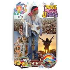 Peace * Love * Music ~ Woodstock 1969 by pwhiteaurora on Polyvore featuring artistic expression ~ created 5-5-2016