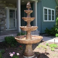 4-Tier Grand Courtyard Outdoor Water Fountain Brown Color Water Feature
