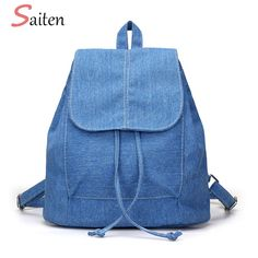 2018 New Denim Canvas Women Backpack Drawstring School Bags For Teenagers  Girls Small Backpack Female Rucksack d06d09e42a