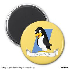 Cute penguin cartoon 2 inch round magnet