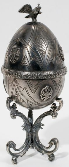 """FABERGE RUBY & SILVER EGG SHAPED BOX H 4 3/4"""". Click through for photos of interior."""