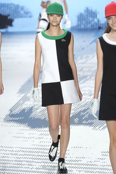 Lacoste. Spring 2009 RTW. Princess style Op Art with a Hunter's Cap.