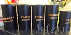 Repurposed coffe and tea cans - stencil painted  - http://artcave.eu/blog/repurposed-coffe-and-tea-cans-stencil-painted