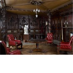 Chatsworth ~ red leather chairs in panelled room Red Leather Chair, Country Life, Country Houses, 1960s House, Palace Interior, Chatsworth House, Fantasy House, English Style, Classic House