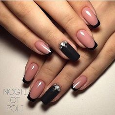Beautiful winter nails, Beyonce nails, Black french manicure, Black lacquer nails, Black nails with White Nails, Pink Nails, My Nails, Fall Nails, Black Nails, Black French Nails, French Hair, French Beauty, Matte Black