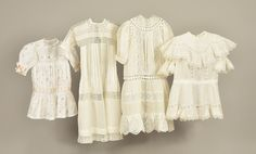 LOT 518 FOUR CHILDREN'S WHITE COTTON DRESSES, EARLY 20th C - whitakerauction 1950s Outfits, Pink Satin, Vintage Children, Cotton Dresses, White Cotton, Ruffle Blouse, Lace, Clothes, Hairstyles