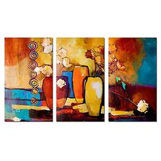 Hand-painted Abstract Oil Painting with Stretched Frame - Set of 3 – USD $ 69.99