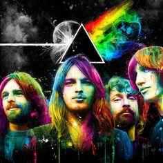 Pink Floyd by Patrice Murciano David Gilmour Pink Floyd, Art Pink Floyd, Pink Floyd Artwork, Pink Floyd Poster, Murciano Art, Patrice Murciano, Pink Floyd Members, The Dark Side, Rock Y Metal