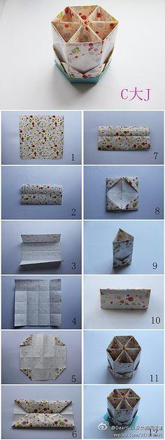 Origami Hexagon Module Box,FICOU MUITO BONITO,ESTA CAIXAS COM DIVISORIAS,AMEI