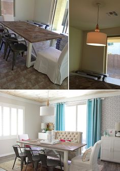 Dining Room Before & After : DIY Fabric Wall by Petite Party Studio