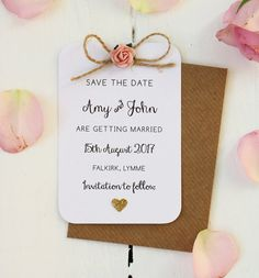 Rustic Rose Glitter Heart Save The Date Card by LittleIndieStudio