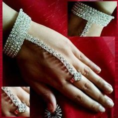 Bollywood Bauchtanz Belly Dance Handschmuck Ring Sklavenarmband Strass Hochzeit