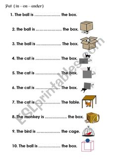 preposition in on under - ESL worksheet by loonelly English Grammar For Kids, Learning English For Kids, English Lessons For Kids, English Language Learning, English Worksheets For Kindergarten, English Worksheets For Kids, 2nd Grade Worksheets, English Teaching Materials, Teaching English