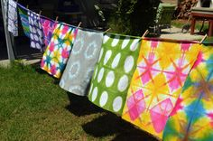 Dyed Fabric on Clothesline