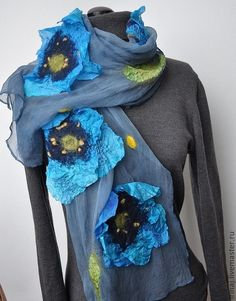 Nuno Felted Scarf Blue Poppies-- ready to ship now Nuno Felt Scarf, Felted Scarf, Blue Poppy, Handmade Scarves, Nuno Felting, Textiles, Womens Scarves, New Outfits, Wool Felt