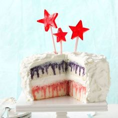 festive red, white, and blue poke cake