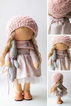 Tender tilda doll Art doll handmade blonde peach pink colors Soft doll Cloth…