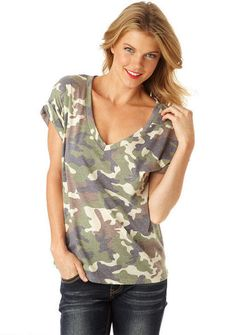 Cece Camo Top - One of my favorite tops! Wearing it today! It's so comfy. Perfect paired with a leather jacket