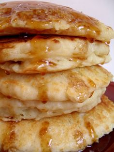 Fluffy buttermilk pancake recipe.. Half the recipe for 10-12 pancakes. I put bananas (2) smashed with fork and mixed into half recipe so good.